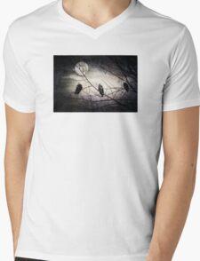 Three Bald Eagles under the Full Moon  Mens V-Neck T-Shirt