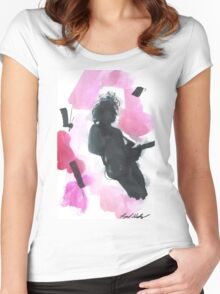 The 1975 Matty Healy Silhouette with Guitar  Women's Fitted Scoop T-Shirt