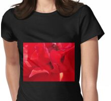 Fire Red Petals Womens Fitted T-Shirt