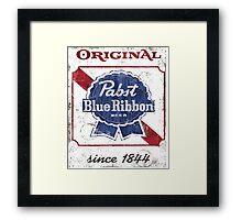 Pabst Blue Ribbon Beer Distressed Framed Print