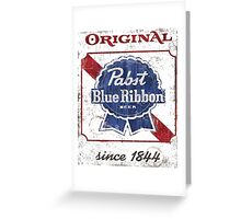 Pabst Blue Ribbon Beer Distressed Greeting Card