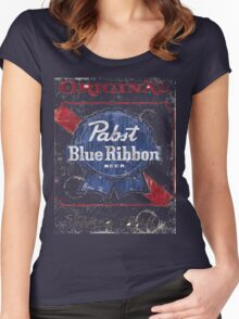 Pabst Blue Ribbon Beer Distressed Women's Fitted Scoop T-Shirt