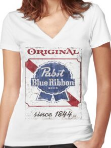 Pabst Blue Ribbon Beer Distressed Women's Fitted V-Neck T-Shirt