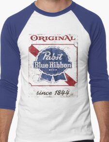 Pabst Blue Ribbon Beer Distressed Men's Baseball ¾ T-Shirt