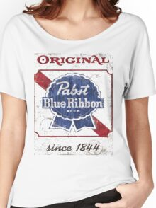 Pabst Blue Ribbon Beer Distressed Women's Relaxed Fit T-Shirt