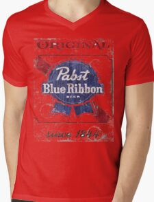 Pabst Blue Ribbon Beer Distressed Mens V-Neck T-Shirt