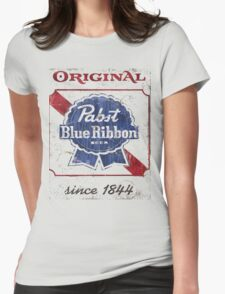 Pabst Blue Ribbon Beer Distressed Womens Fitted T-Shirt