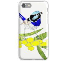 Blue Wren with Golden Wattle iPhone Case/Skin