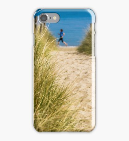 Path through sand dunes to beach iPhone Case/Skin