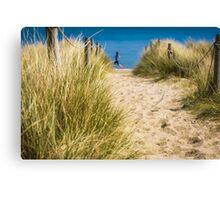 Path through sand dunes to beach Canvas Print