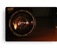 Camera Lens Candle Reflection Canvas Print