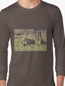 Bengal Tigers Sparring In A Marsh Long Sleeve T-Shirt