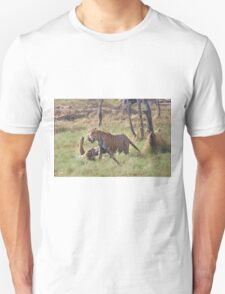 Bengal Tigers Sparring In A Marsh Unisex T-Shirt