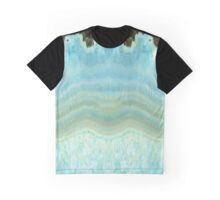 Girly Chic Aqua Blue Gray Agate Geode Rock Crystal Patterns Graphic T-Shirt