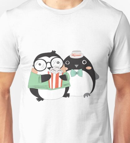 Funny Cartoon Animals Penguins and Popcorn Unisex T-Shirt