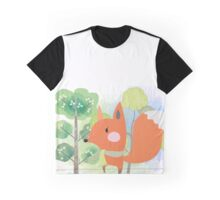 Cute Cartoon Animals Red Fox in Forest Graphic T-Shirt