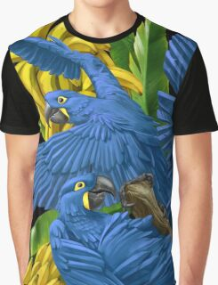Hyacinth Macaws and Bananas Stravaganza (black background) Graphic T-Shirt