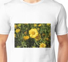 Yellow flowers in the grass. Unisex T-Shirt