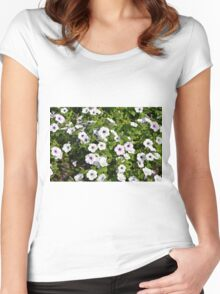 White spring flowers in the park. Women's Fitted Scoop T-Shirt