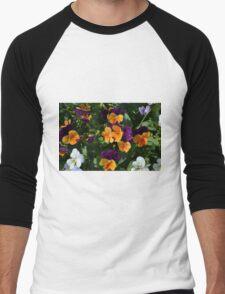 Colorful orange and purple flowers background. Men's Baseball ¾ T-Shirt