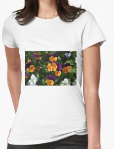 Colorful orange and purple flowers background. Womens Fitted T-Shirt