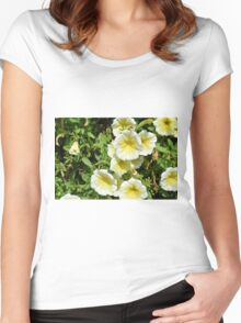 Yellow light flowers in the park. Women's Fitted Scoop T-Shirt