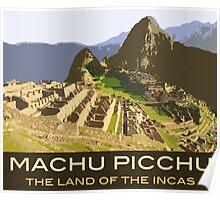 Machu Picchu Commemorative Souvenir Design, in Vintage Travel Poster Style Poster