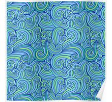 Abstract Blue Green Tones Poster