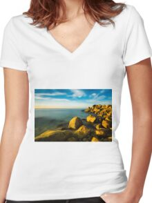 Golden hour on rocks and sea Women's Fitted V-Neck T-Shirt