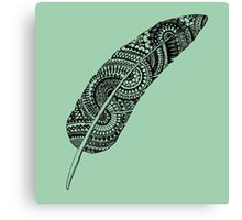 Feather zentangle, greyish green - One Mandala A Day Canvas Print