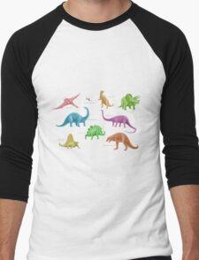 Dinosaur Montage - multicoloured Men's Baseball ¾ T-Shirt