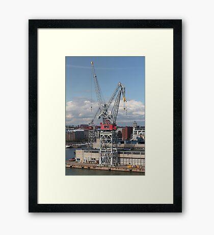 crane at the port Framed Print
