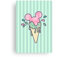 Mickey Icecream Splash Canvas Print
