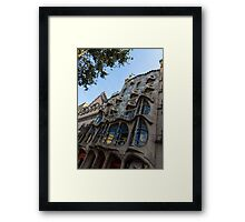 Looking Up to a Masterpiece - Antoni Gaudi's Casa Batllo in Barcelona, Spain Framed Print