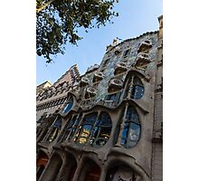 Looking Up to a Masterpiece - Antoni Gaudi's Casa Batllo in Barcelona, Spain Photographic Print