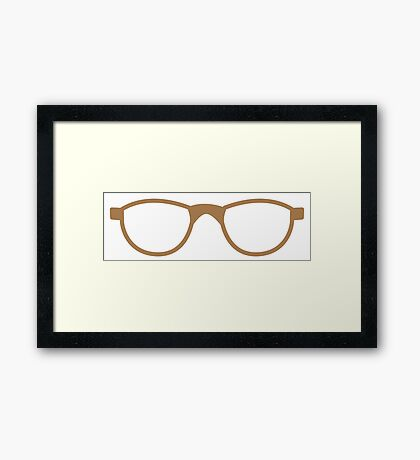 pair of brown nerd glasses Framed Print