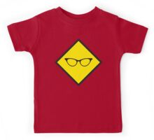 YELLOW WARNING sign glasses Kids Tee