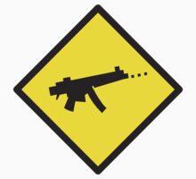 Digital GAMER crossing sign with digital gun rifle One Piece - Long Sleeve