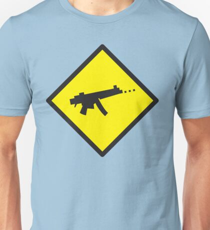 Digital GAMER crossing sign with digital gun rifle Unisex T-Shirt