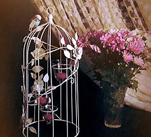 Mother's Day Card, Bird Cage and Flowers, Colour Digital Fine Art Photography  by ©Josephine Caruana