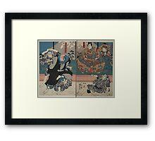 Kuniyoshi Utagawa - Sato Norikiyo & Yoshinaka - Circa 1850 - Woodcut Framed Print