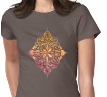Sunset Art Nouveau Watercolor Doodle Womens Fitted T-Shirt