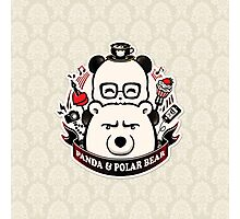 Panda And Polar Bear Badge Photographic Print