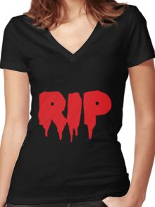 RIP in blood REST IN PEACE Women's Fitted V-Neck T-Shirt