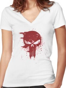 The Punisher Blood Women's Fitted V-Neck T-Shirt