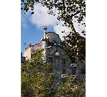 Antoni Gaudi's Casa Batllo Through Sycamore Trees Photographic Print