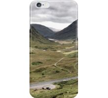 The A82 road sweeps through Glencoe, Highlands of Scotland iPhone Case/Skin