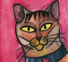 Cat with heart collar by Fiona Lokot