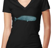 Sperm whale Women's Fitted V-Neck T-Shirt
