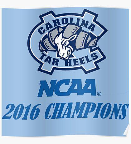 North Carolina Tar Heels NCAA 2016 Champions Poster